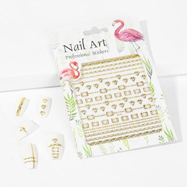 Geometric Hollow Out Nail Sticker One Sheet
