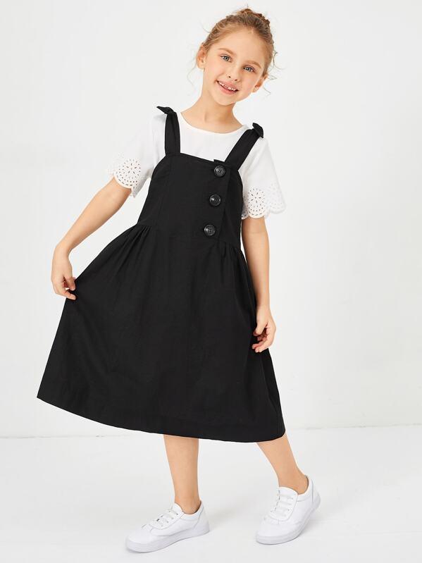 Girls Button Front Knot Strap Pinafore Dress, Anna C