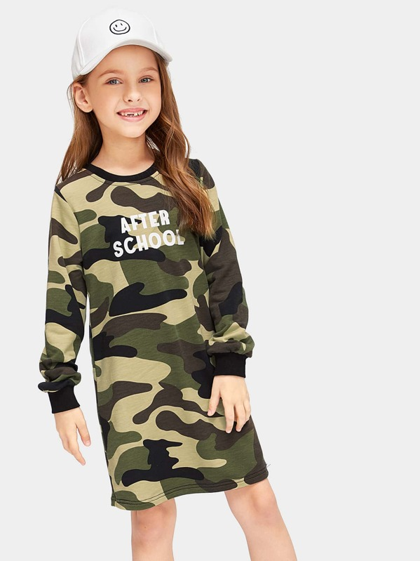 Girls Letter Print Ringer Neck Camo Dress, Masha. P