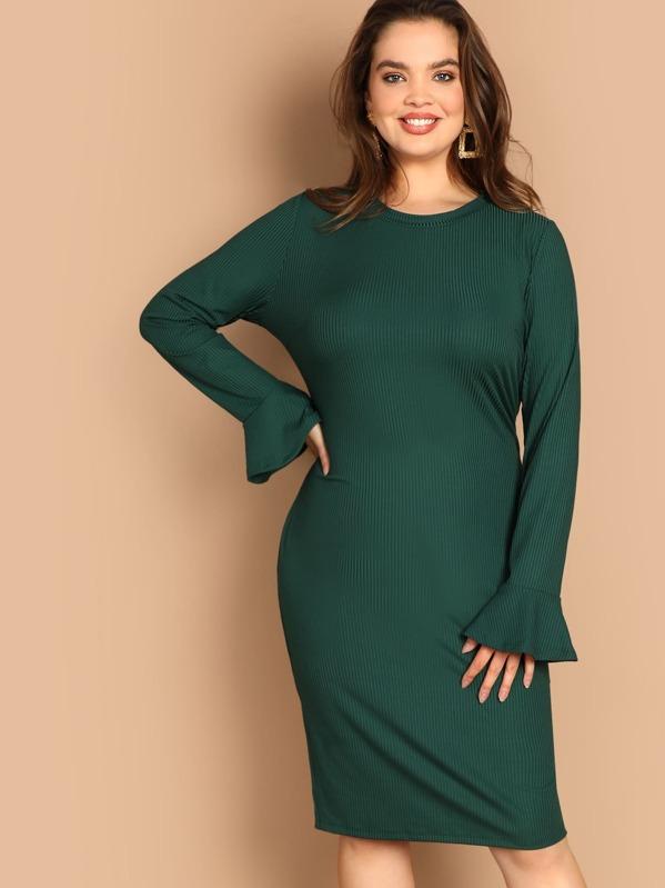Plus Flounce Sleeve Rib-knit Pencil Dress