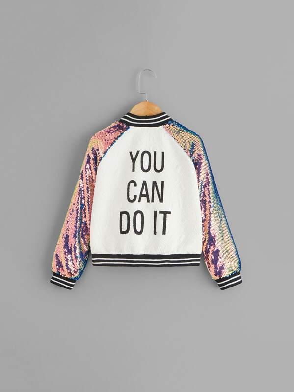 Girls Sequin Raglan Sleeve Zipper Slogan Print Jacket