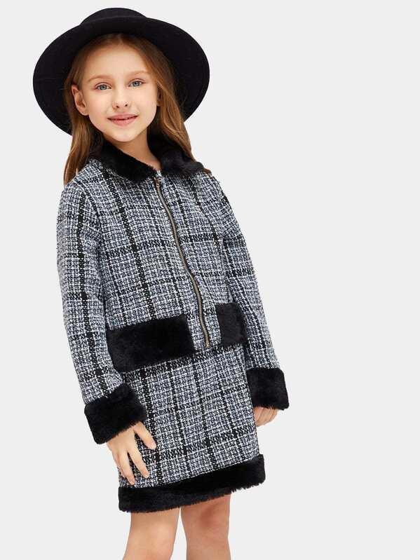 Girls Faux Fur Patched Zipper Up Tweed Coat & Skirt Set