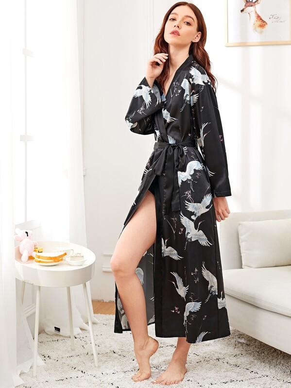 Crane Print Satin Longline Robe