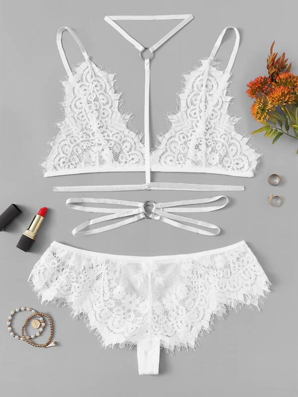 Eyelash Lace Harness Lingerie Set With Choker, null
