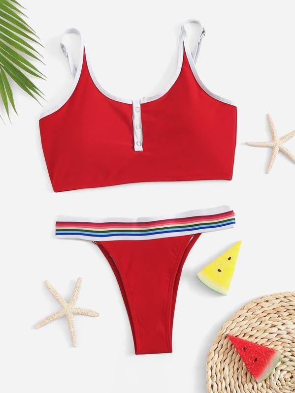 Contrast Piping Top With Striped Tanga Bikini