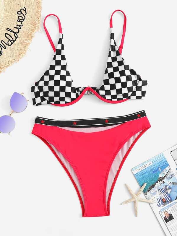 Checker Underwire Top With High Leg Bikini Set