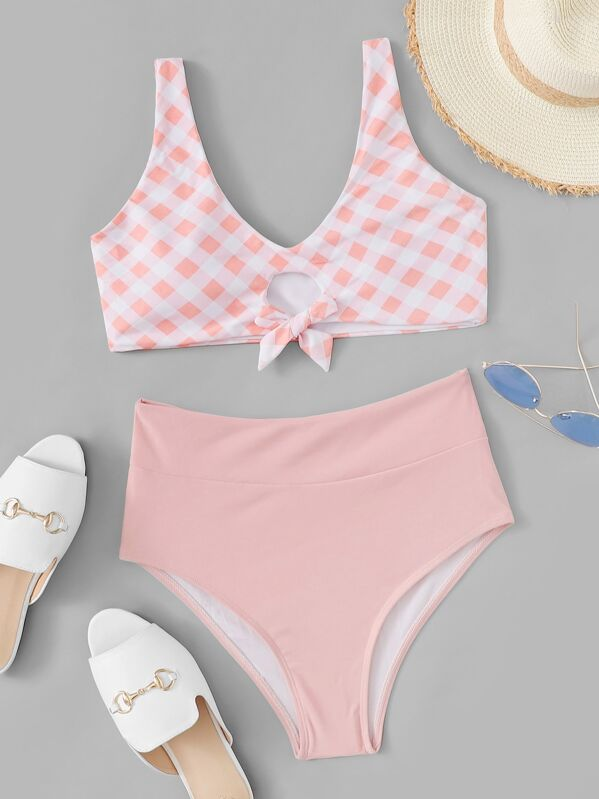 Plaid Knot Front Top With High Waist Bikini Set, null