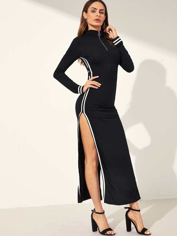 O-ring Zip Front High Split Side Striped Dress, Andy