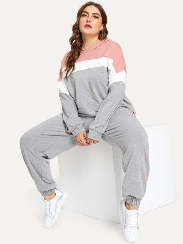 Plus Heather Knit Colorblock Hoodie and Sweatpants Set, Franziska
