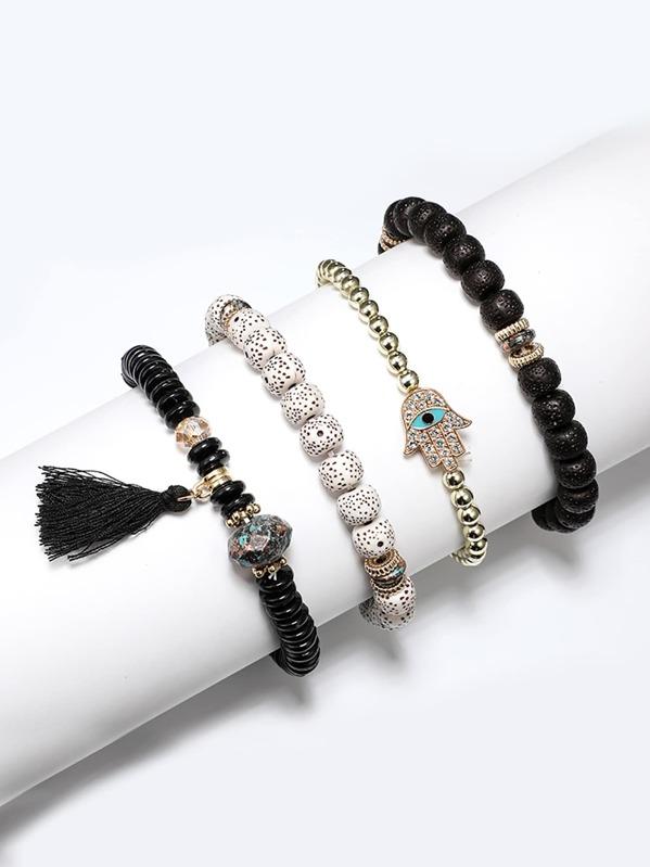 Tassel Detail Beaded Bracelet Set 4pcs