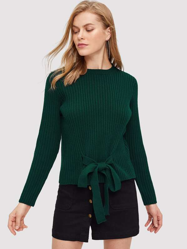 Knot Front Ribbed Knit Jumper, Kate C
