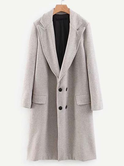 Shein Manteau Unicolore Avec Double Poches Et Boutons