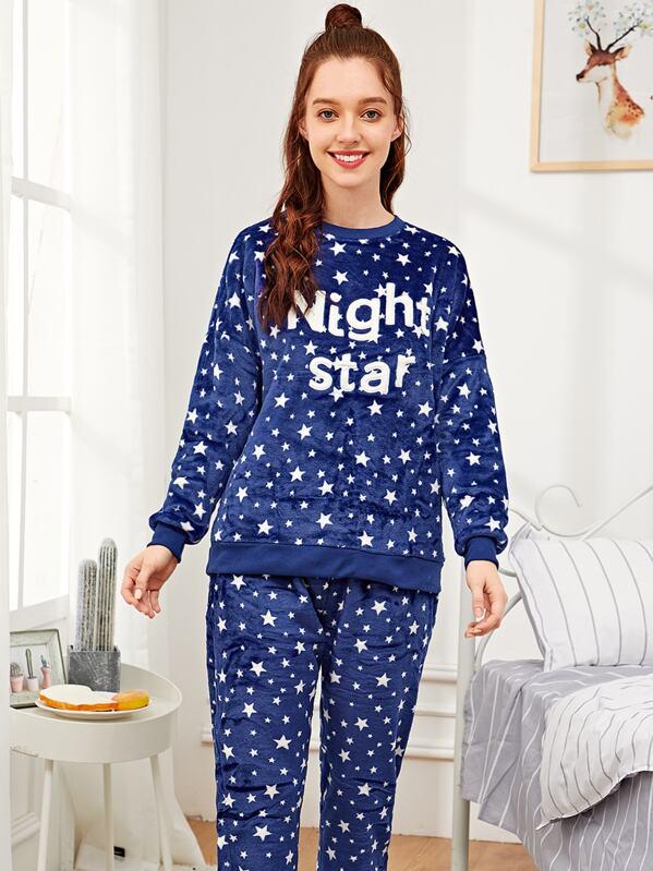 Star Print Letter Embroidered Plush Pajama Set