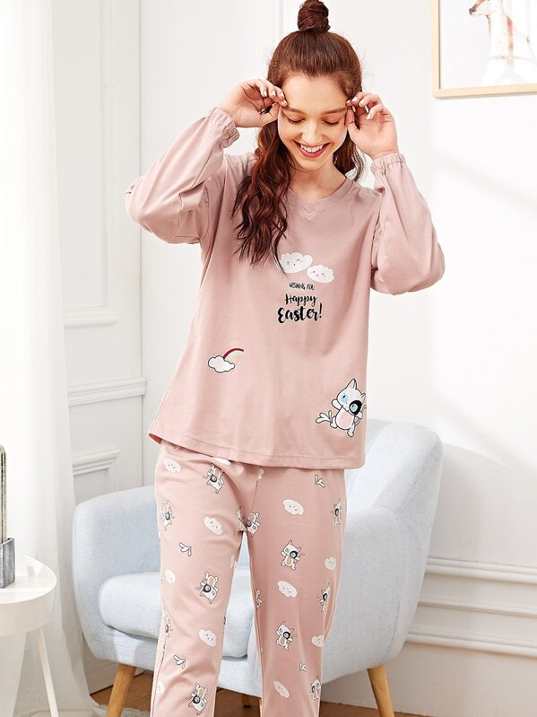 Cat & Cloud Print Pajama Set
