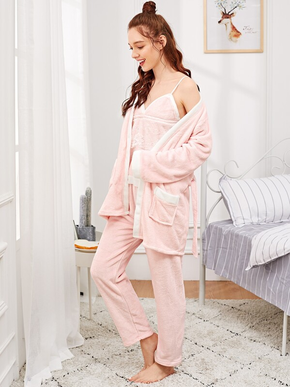 Floral Lace Plush Cami PJ Set With Robe