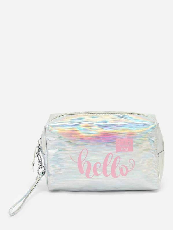 Iridescence Letter Print Makeup Bag