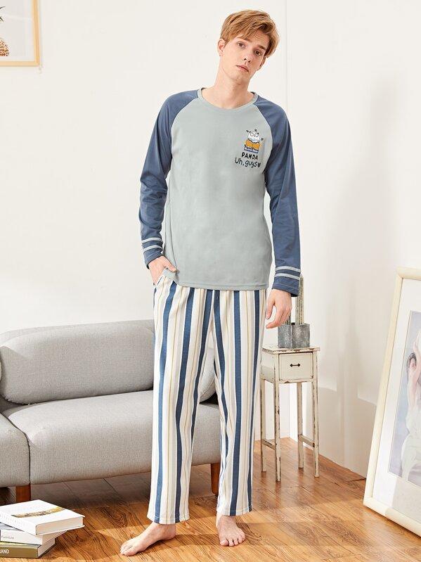 Men Panda Print Striped Pajama Set