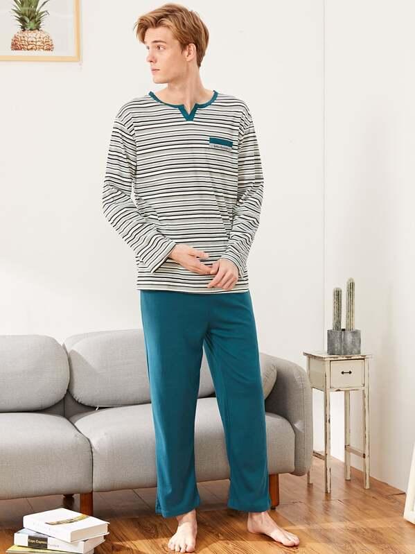 Men Striped Pajama Set