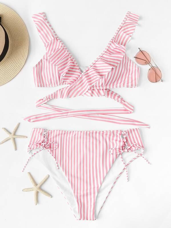 Plus Striped Wrap Ruffle Top With Lace Up Bikini Set, null