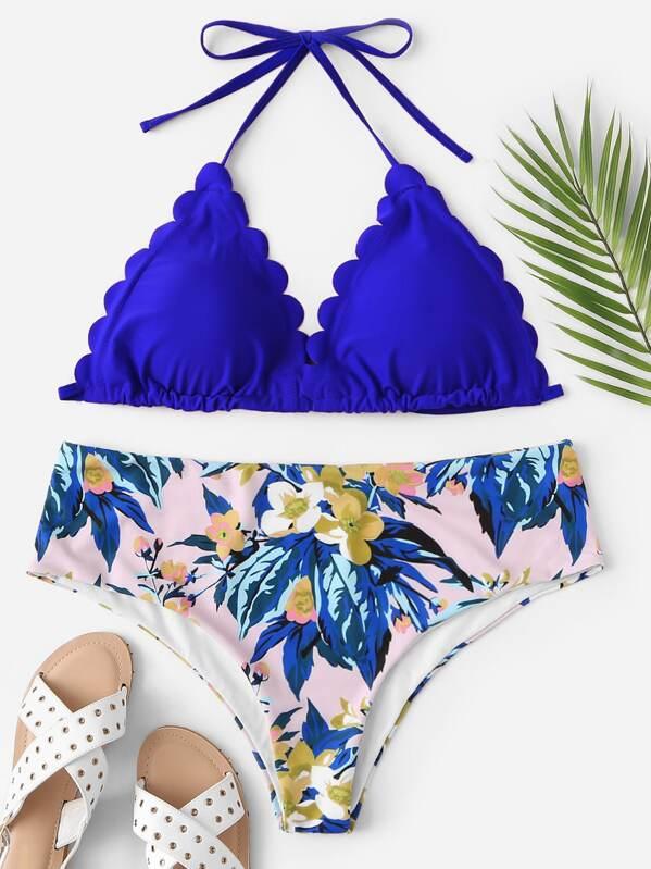 Plus Scalloped Trim Top With Random Floral Bikini Set, null