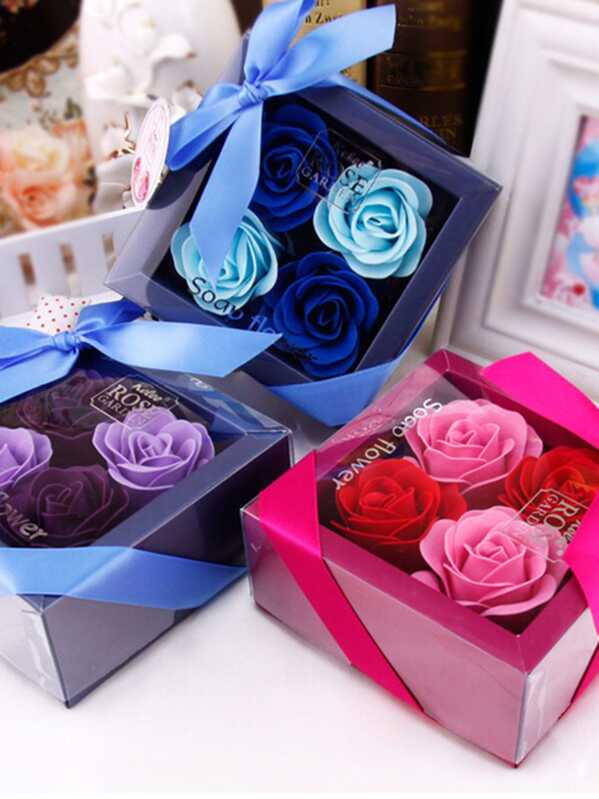 Boxed Soap Flower 4pcs