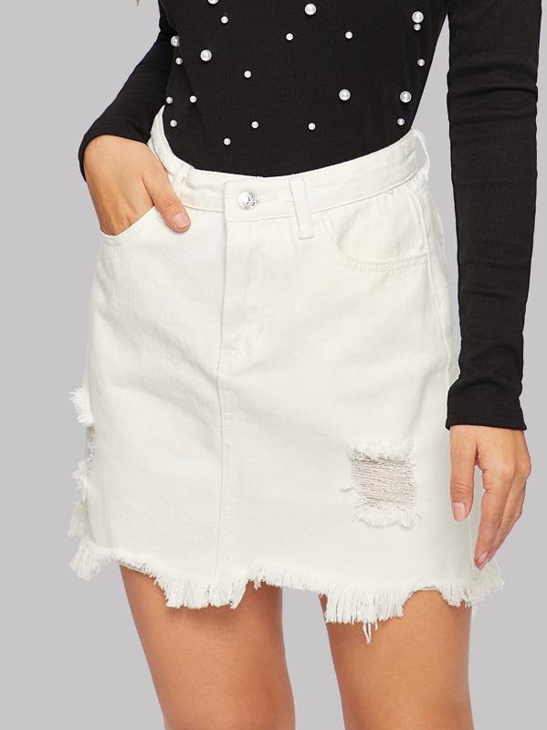 Frayed Hem Ripped Denim Skirt, Debi Cruz