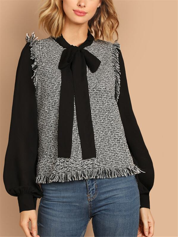 Tie Neck Frayed Trim 2 In 1 Blouse