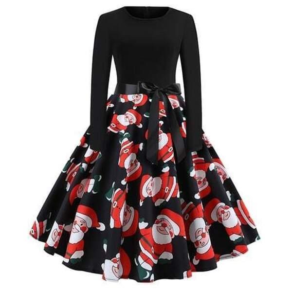 50s Christmas Print Self Tie Circle Dress, Black