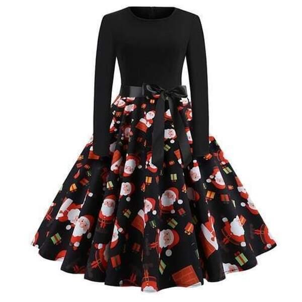 50s Christmas Print Self Tie Flare Dress, Black