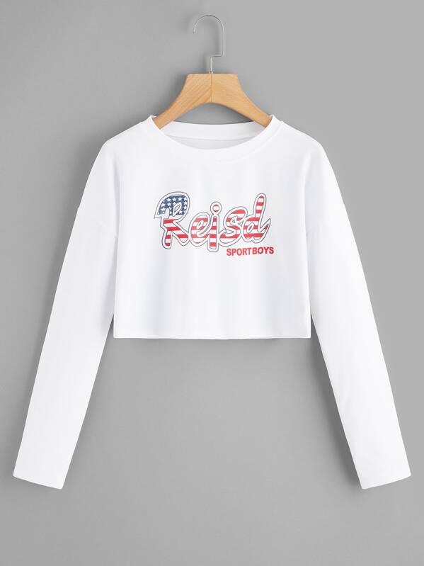 Letter Print Crop Sweatshirt, null