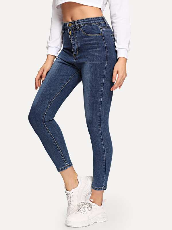 Bleach Wash Skinny Ankle Jeans, Gabi D