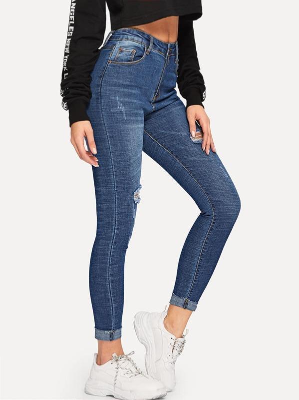Roll Hem Ripped Skinny Ankle Jeans, Masha