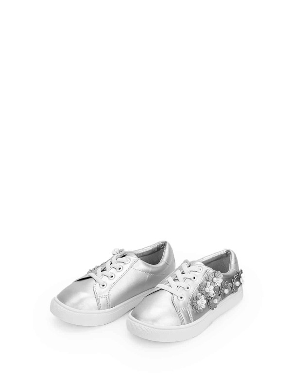 Toddler Girls Flower Decorated Lace-up Sneakers