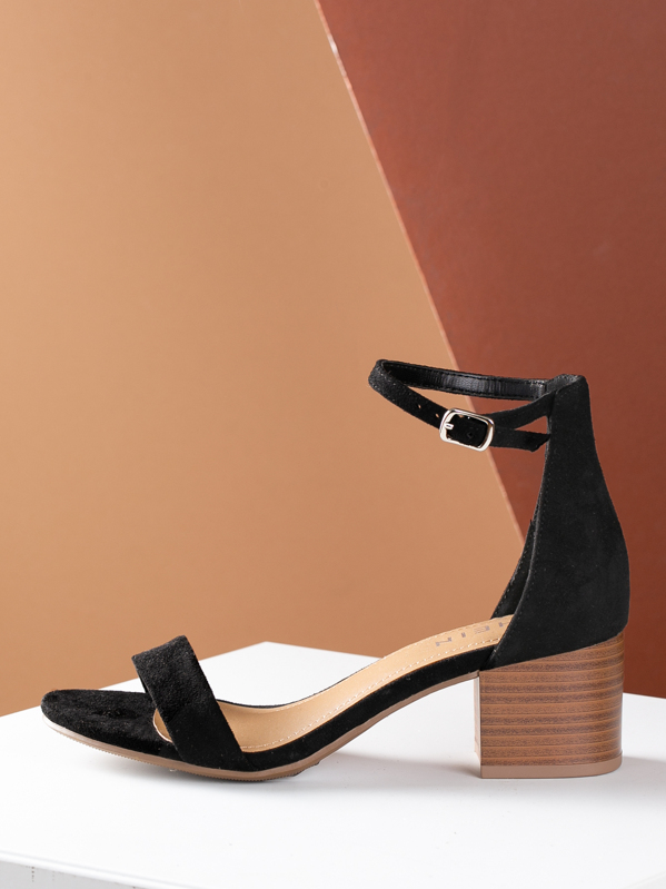 Open Toe Stacked Chunky Heel Thin Strap Sandal, null