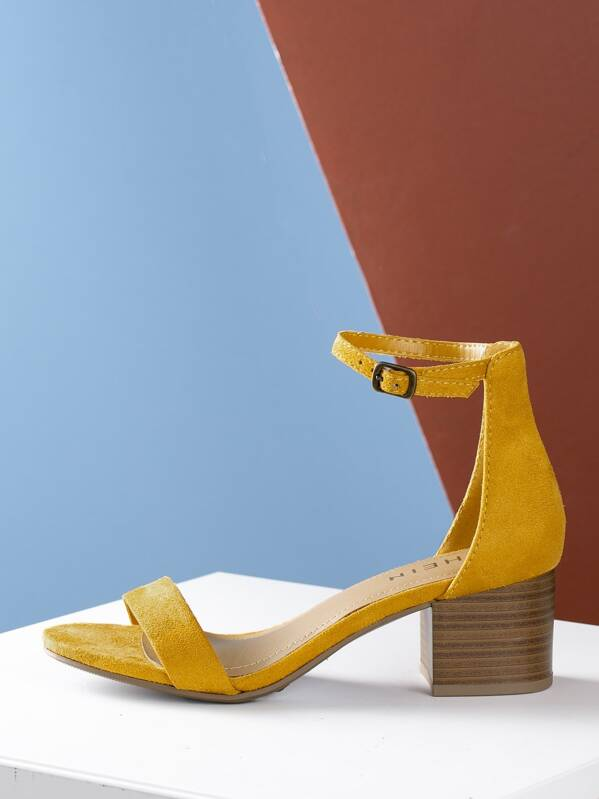 Open Toe Stacked Heel Ankle Strap Sandal, null