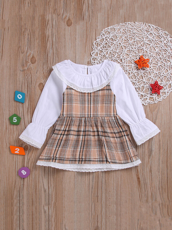 Toddler Girls 2 In 1 Lace Eyelet Trim Madras Plaid Dress