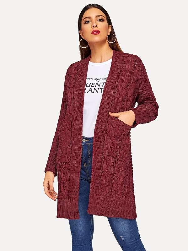 Pocket Detail Drop Shoulder Cardigan Sweater Coat
