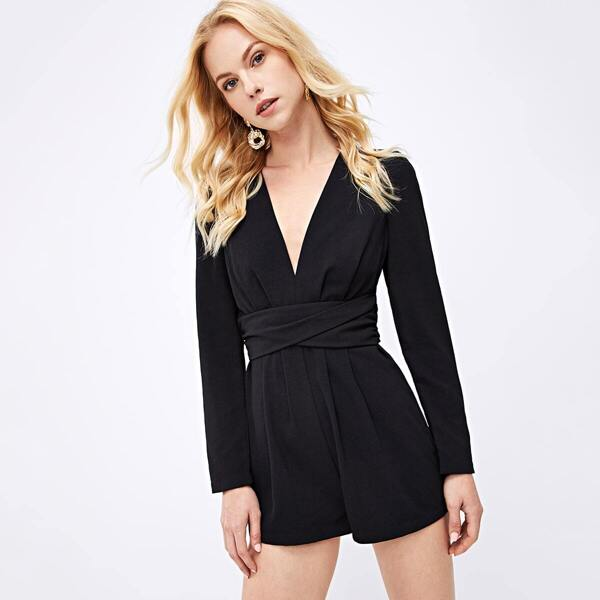 Plunging Belted Wrap Tailored Romper, Black