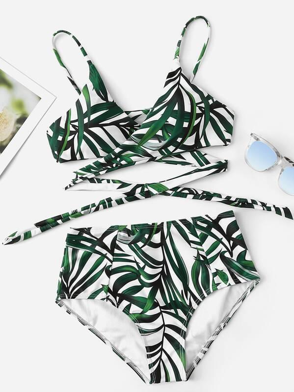 Leaf Print Wrap Knot Top With High-waist Bikini