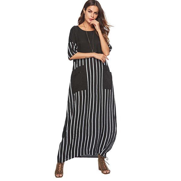 Pocket Detail Striped Print Longline Dress