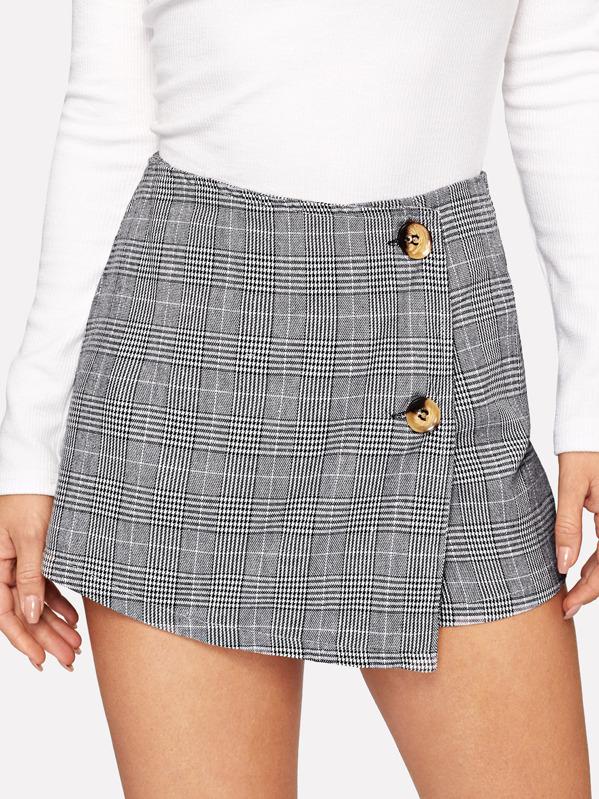 Button Front Plaid Shorts, Sasha