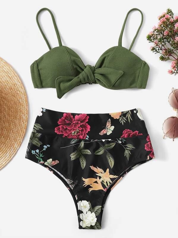 Ribbed Top With Random Floral High Waist Bikini