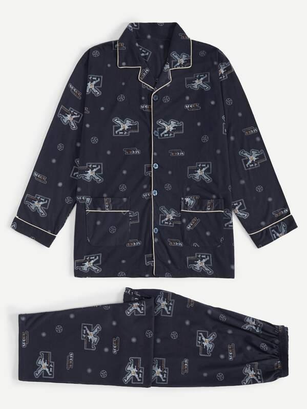 Men Contrast Binding Cartoon Print Pajama Set