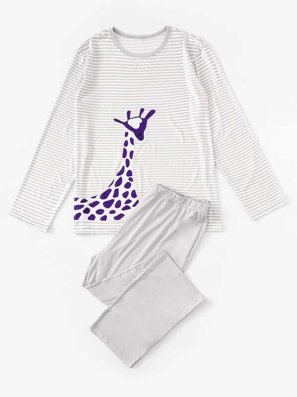 Men Giraffe Print Striped Pajama Set