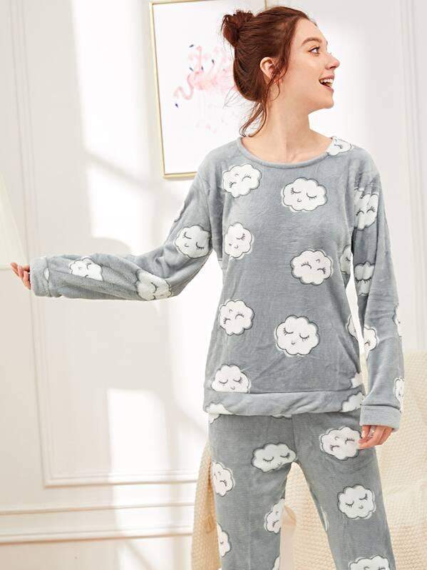 Cloud Print Plush Pajama Set
