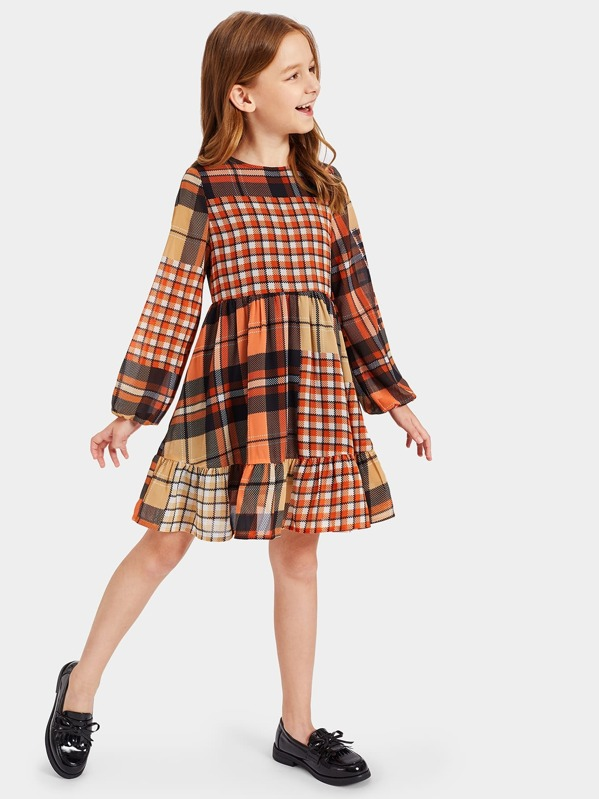 Girls Zip Back Ruffle Hem Plaid Dress, Anna C