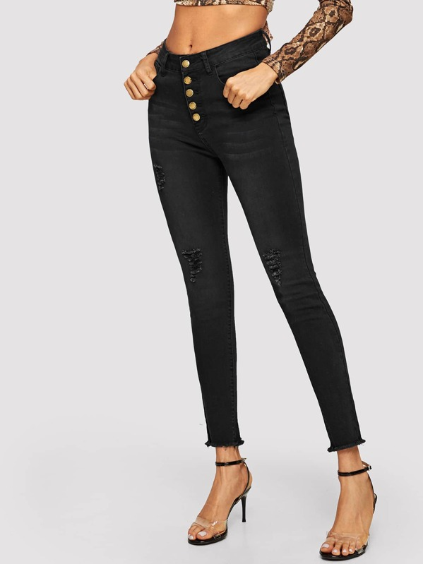 Raw Hem Ripped Buttoned Jeans, Andy