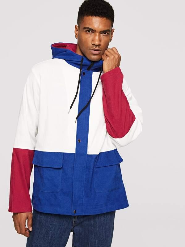 Men Flap Pocket Front Color Block Corduroy Hooded Jacket, Johnn Silva