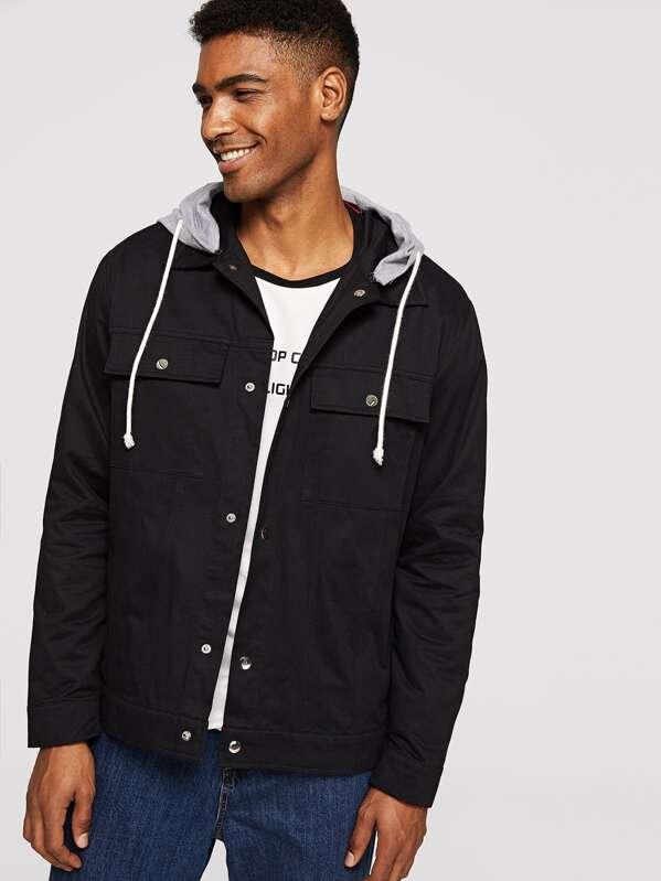 Men Flap Pocket Front Jacket With Jersey Hood, Johnn Silva