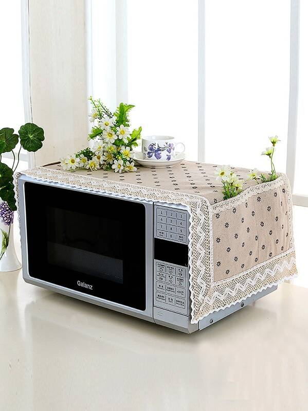 Floral Pattern Microwave Oven Dust Cover